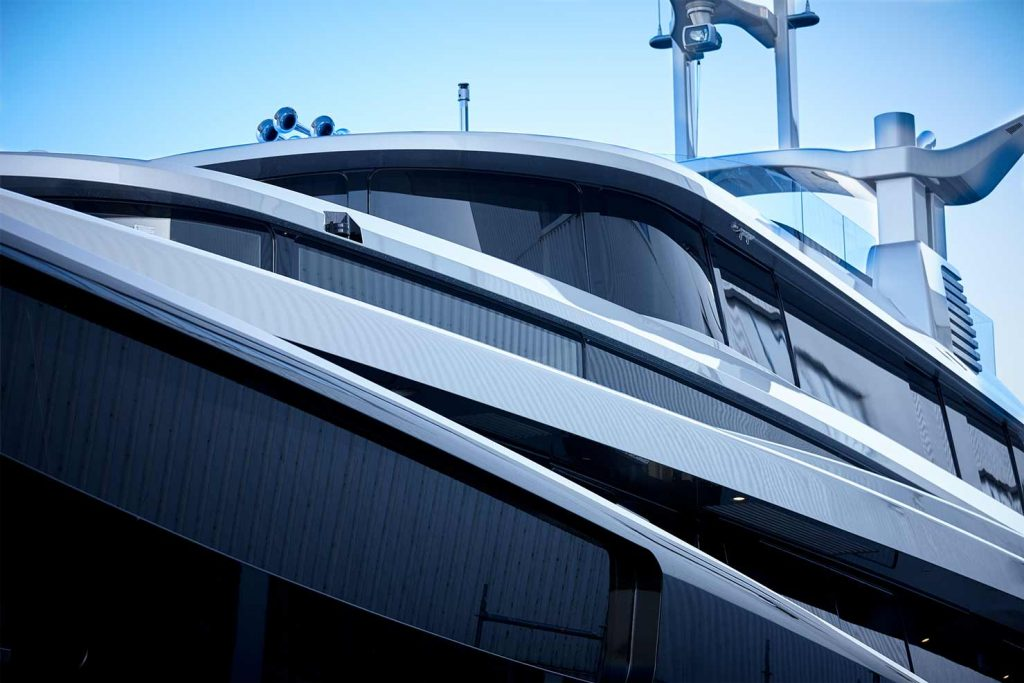 Close up of the Feadship superyacht KISS