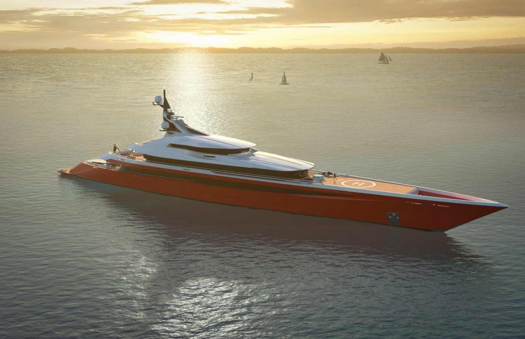 Superyacht Design Concept with red hull