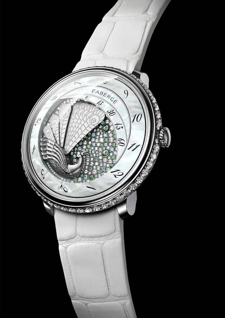 Fabergé-Lady-Compliquée-Peacock-Timepiece---Front-Navigator-Issue-2–spring-summer