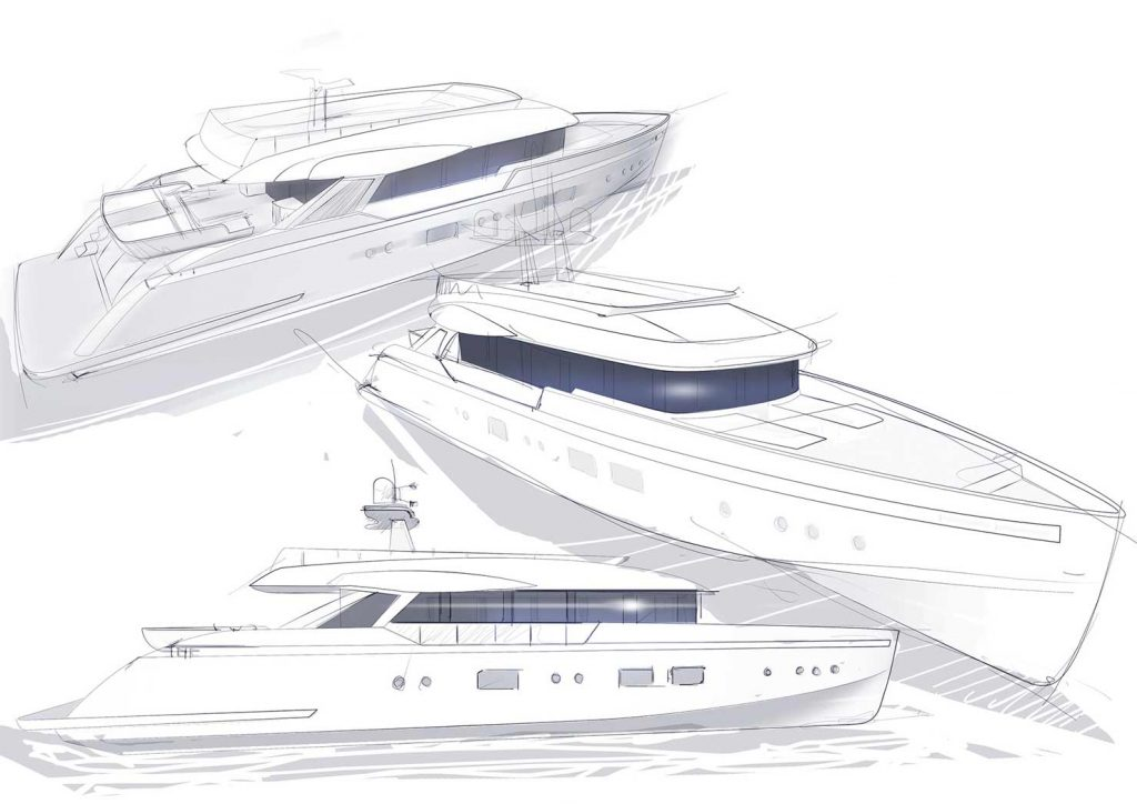 Sketches of the yachts in the Columbus Liberty Range
