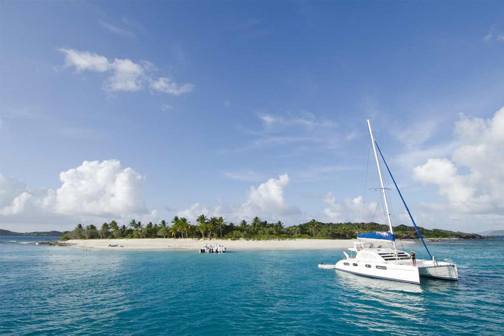 Yacht anchored off a island in the BVI