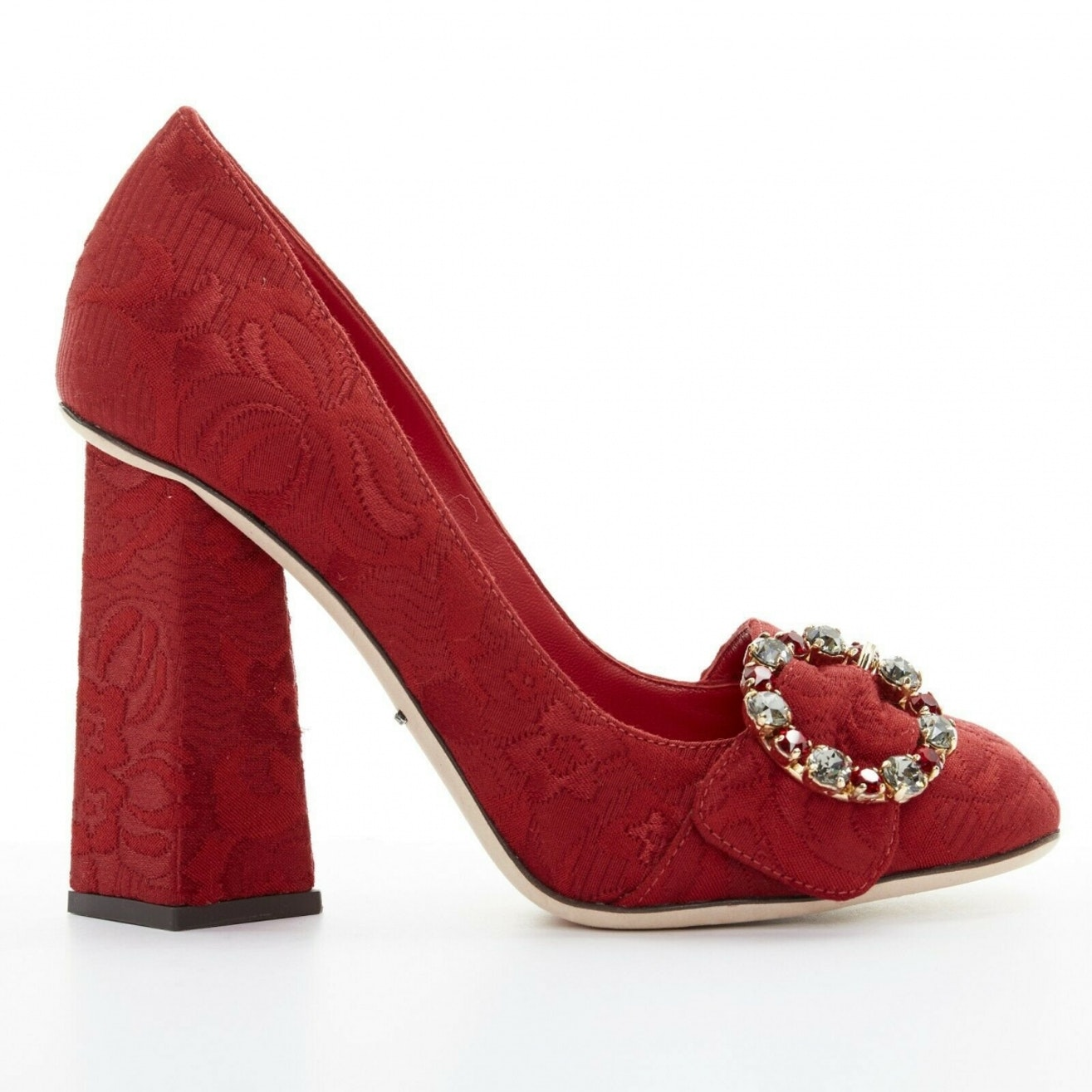 Dolce & Gabbana red brocade pump with embellished buckle