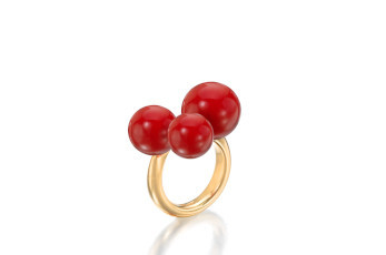 Assael Sardinian crimson coral ring