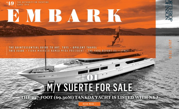 Main Embark image featuring a superyacht for sale underway