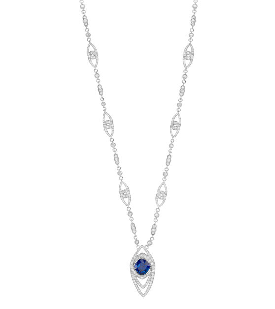 Long sapphire and diamond necklace
