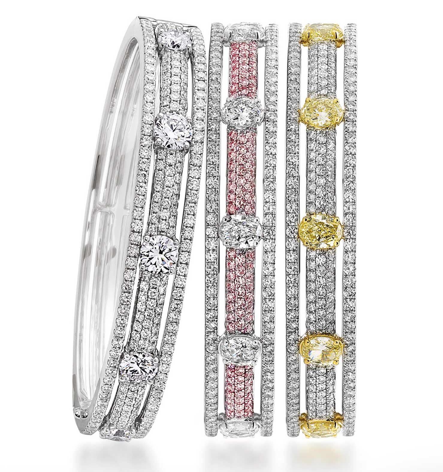 bracelets platinum, with yellow and white diamonds, pink and white diamonds, and all-white diamonds.
