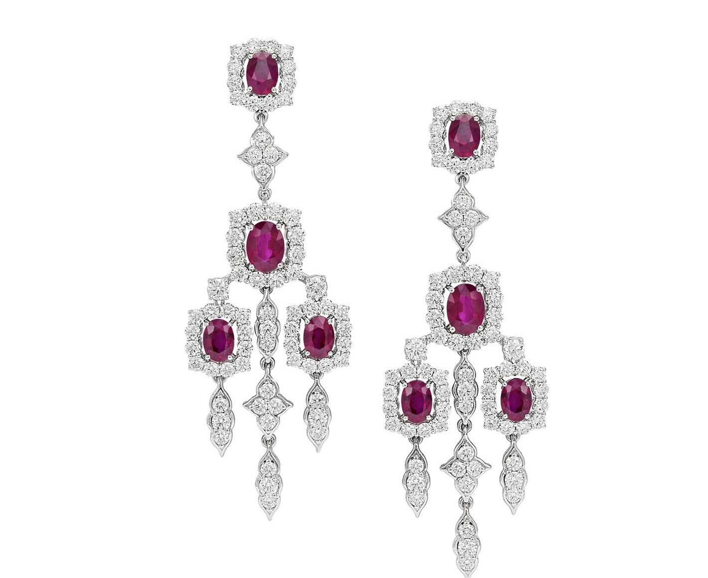 Earings with rubies and diamonds
