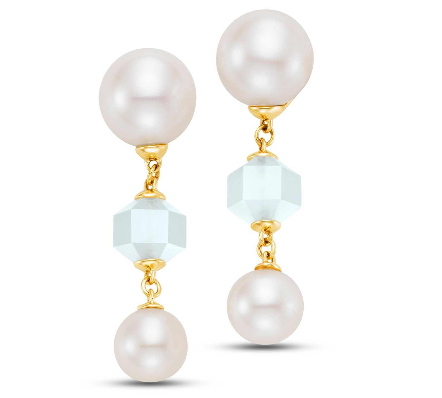 white freshwater pearls with geometrically cut white moonstones