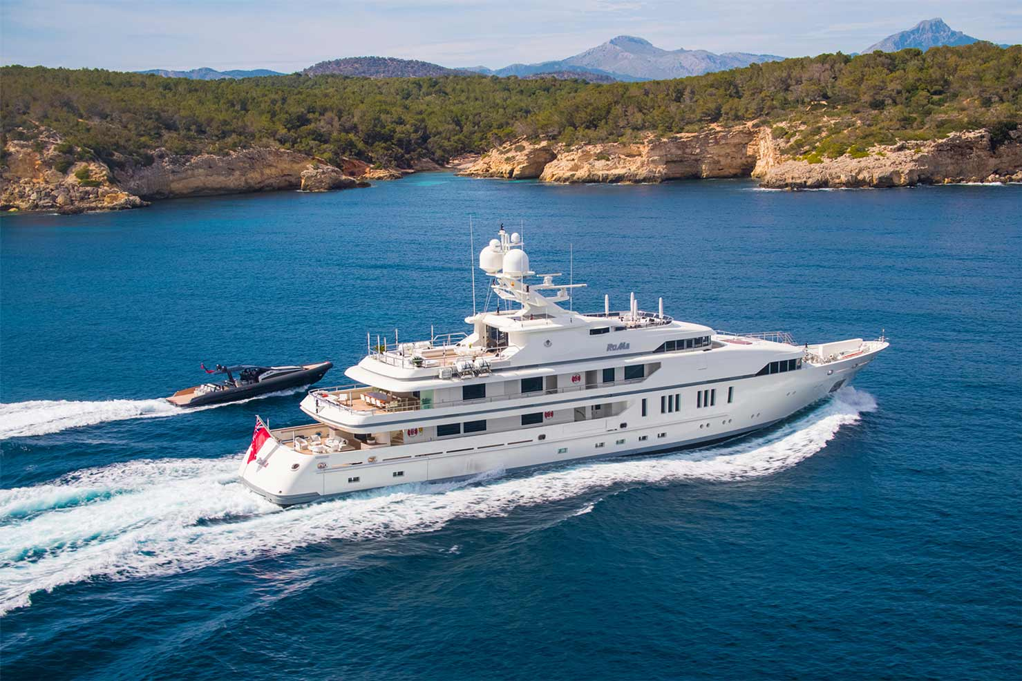 superyacht RoMa cruising the Med with tender during private charter