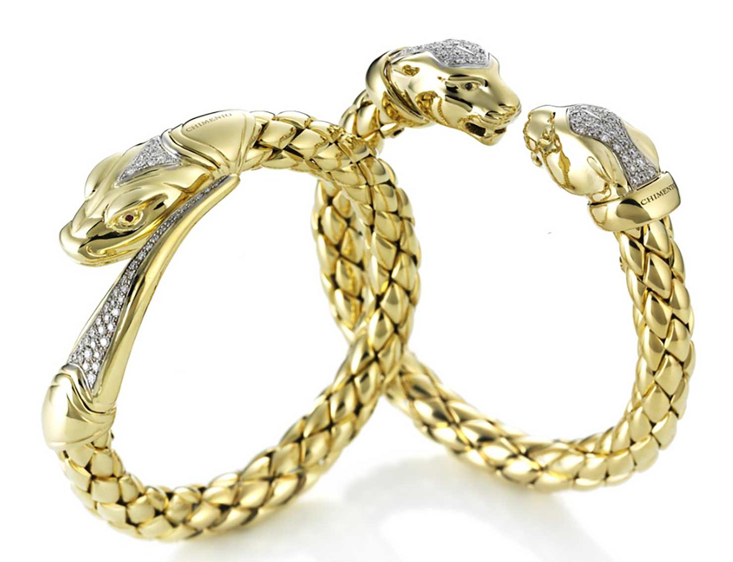 bracelets in yellow gold and diamonds with panther and snake motifs.