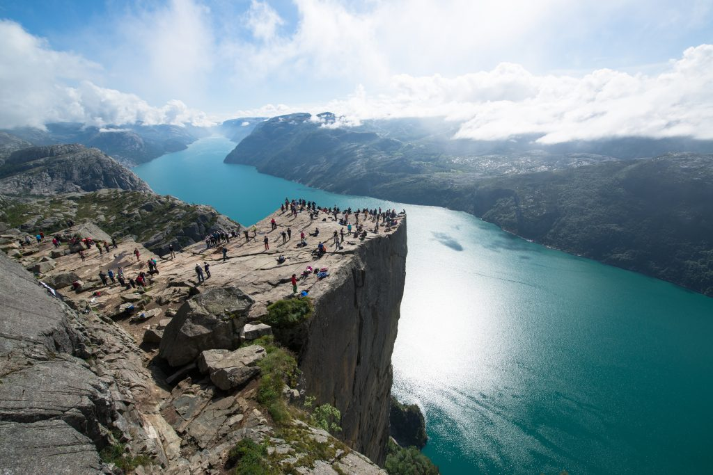 Cliff Preikestolen, also known as Pulpit Rock over fjord Lysefjord