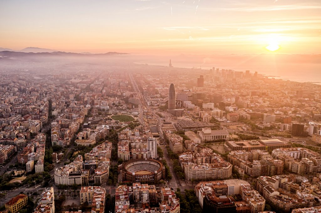 Barcelona private luxury helicopter charter view of cityscape and Catalãs Glories Square