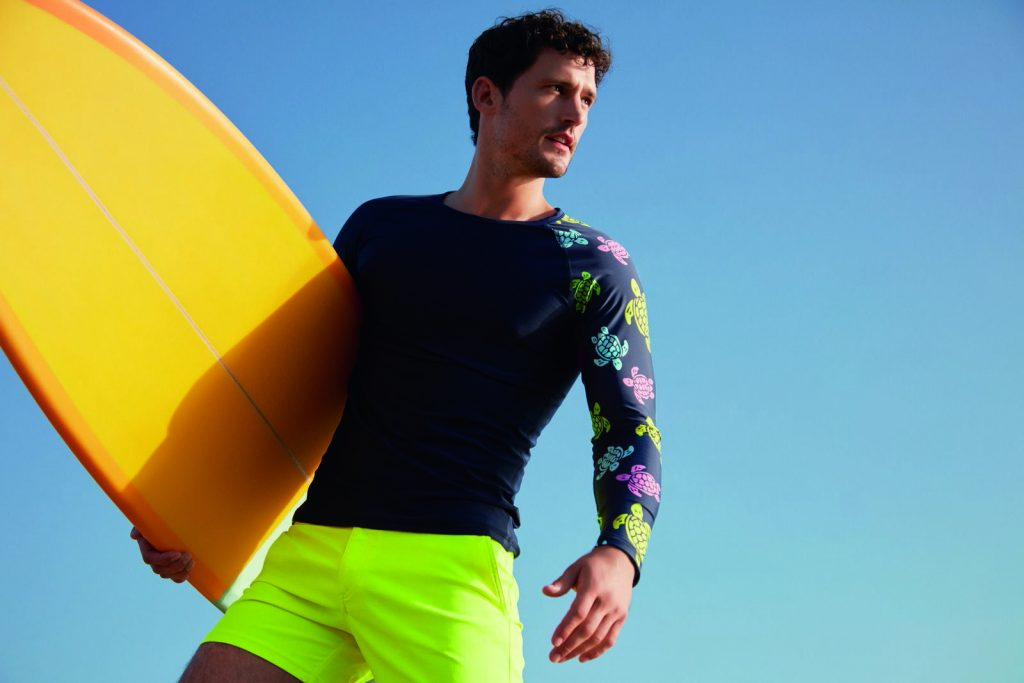 Yellow Swim Shorts & Turtle Rashguard