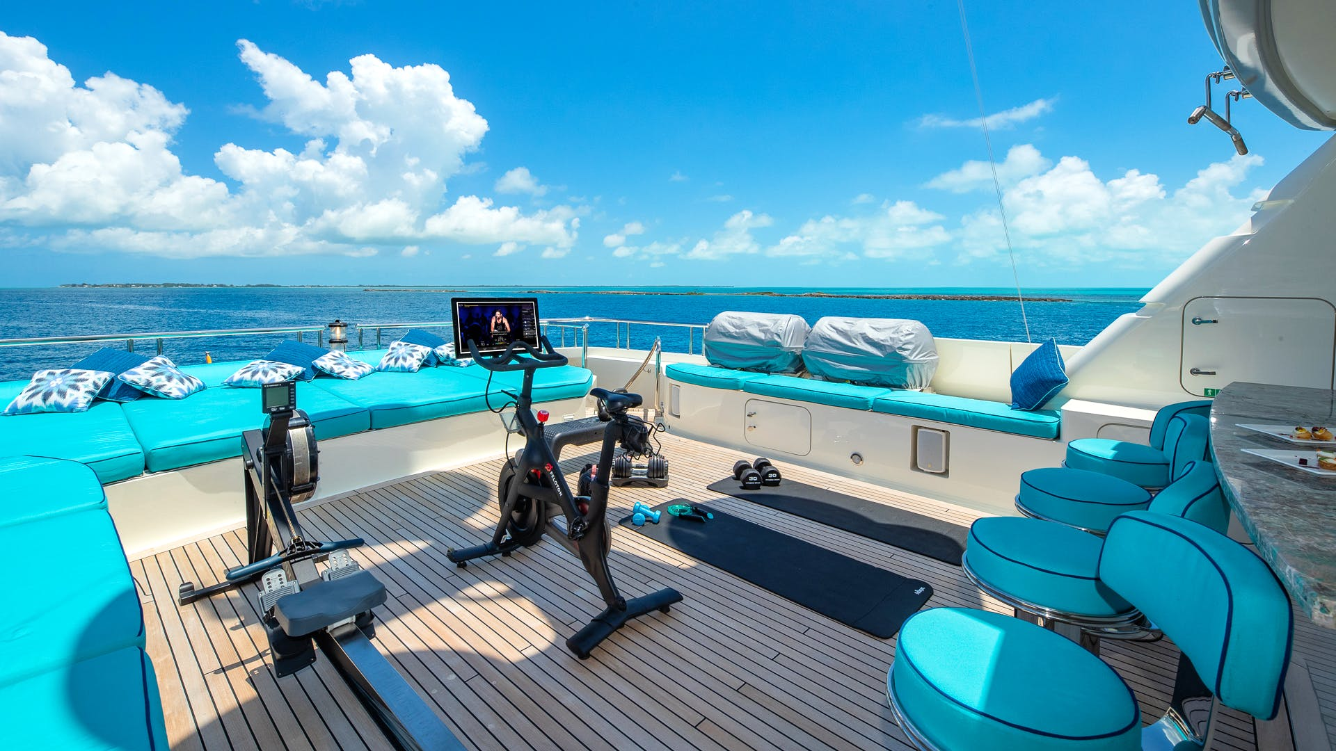 Amels Charter yacht NITA K II GYm Equipment on the sundeck