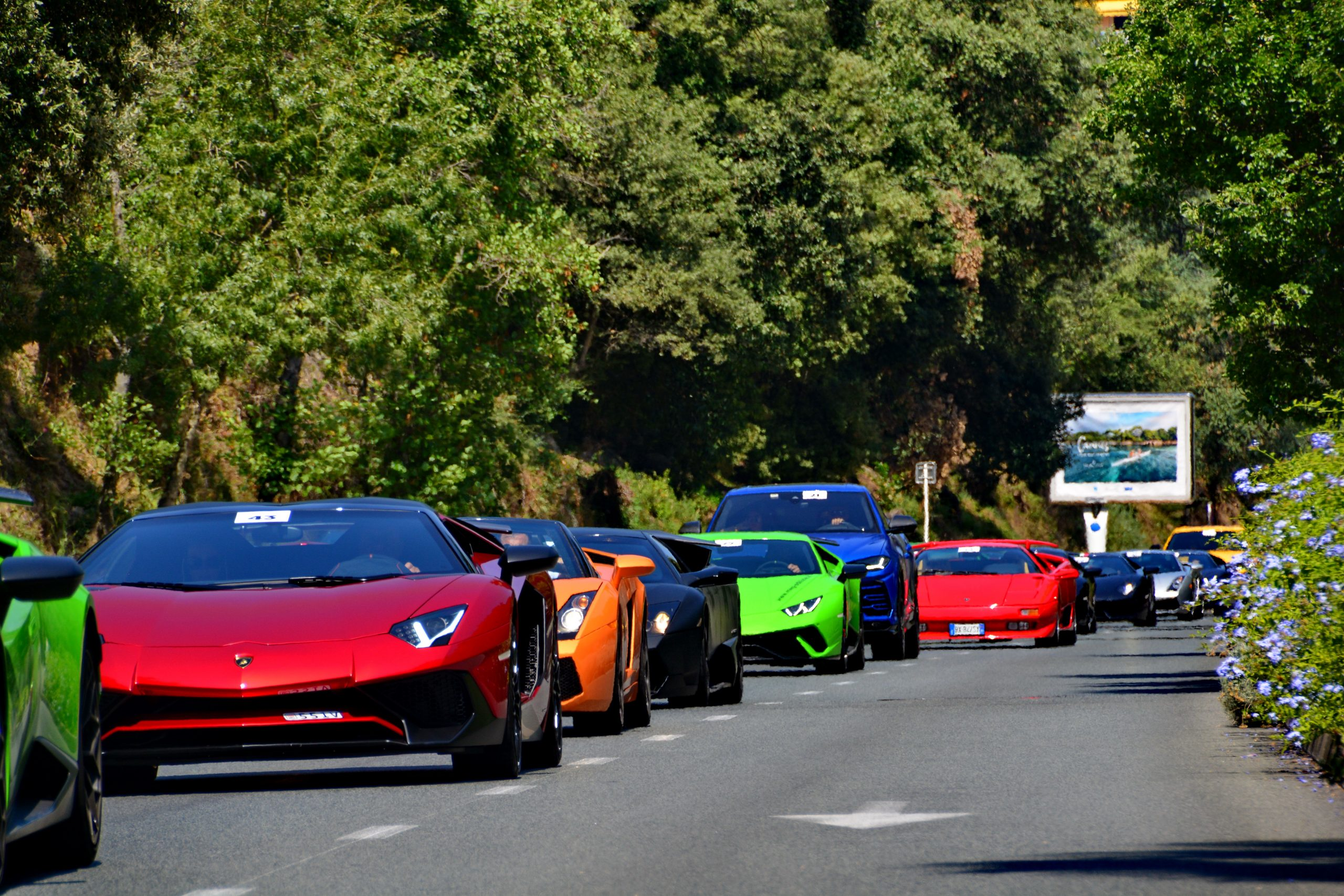Lamborghinis driving through Monaco