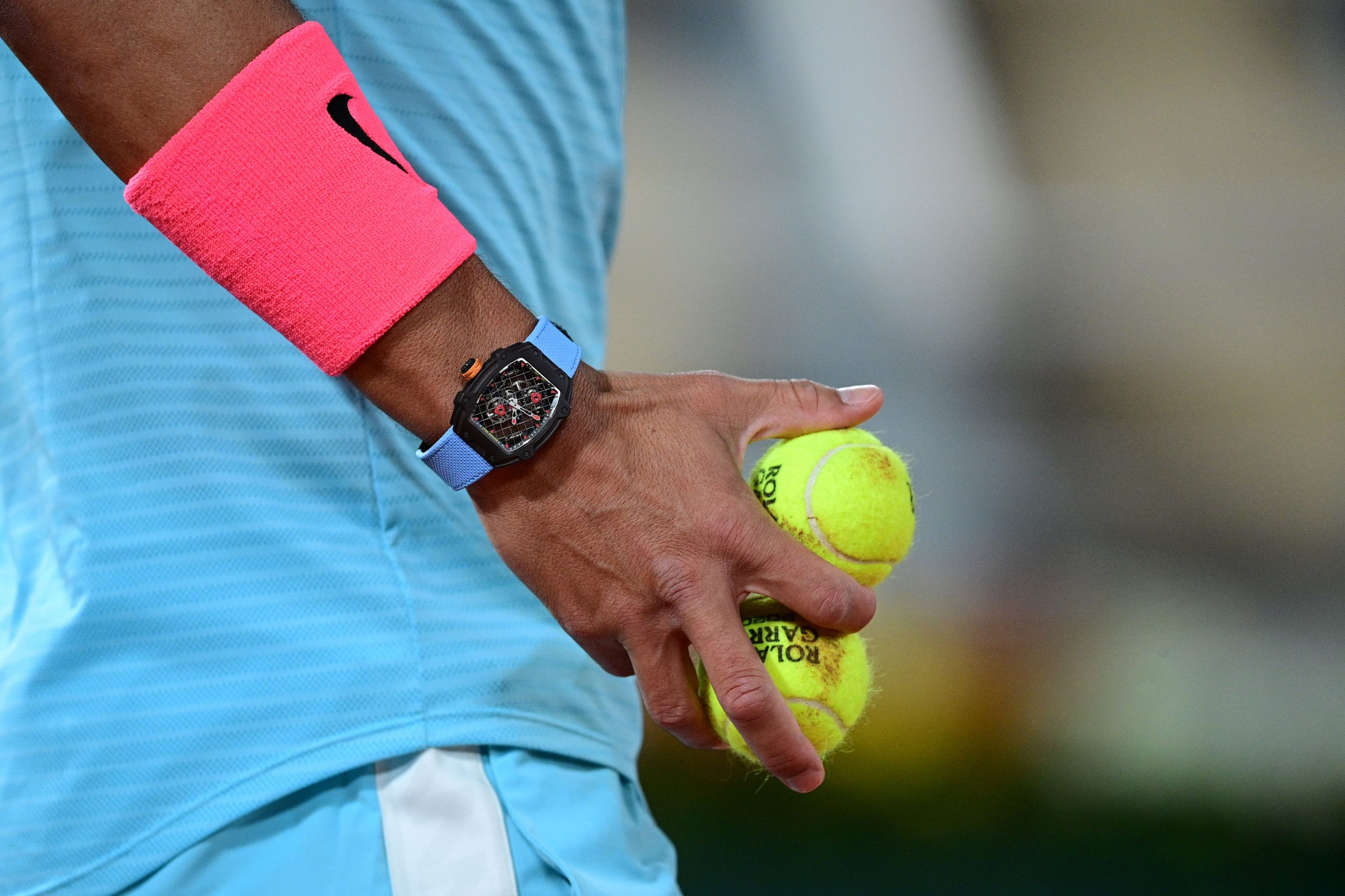 Professional Tennis player Rafael Nadal at the French Open wearing a Richard Mille RM 27-04 Tourbillon Rafael Nadal Limited Edition